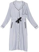 Frnch Pinstripe Piped Shirt Dress