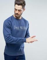 Jack Wills Blackwell Graphic Logo Sweatshirt in Deep Blue