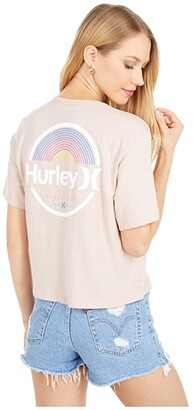 Hurley Arches Crop Pocket Crew (Stone Mauve) Women's Clothing