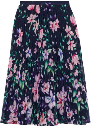 Marchesa Pleated Floral-print Fil Coupe Chiffon Skirt