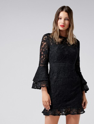 Forever New Jane Lace Flare Sleeve Dress - Black - 4