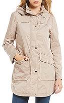Eliza J Floral Zip-Out Quilted Vest Hooded Parka