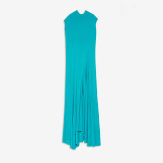 Balenciaga Maxi Twisted Dress in turquoise stretch viscose jersey