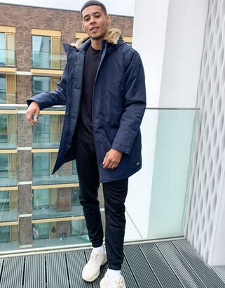 Levi's woodside long utility hooded parka jacket in navy