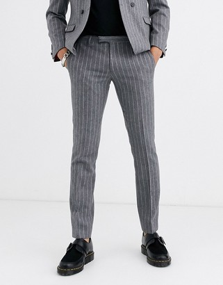 Twisted Tailor skinny suit trousers in grey stripe