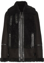 Karl Lagerfeld Leather-trimmed Shearling Biker Jacket - Black