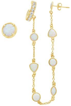 Sterling Forever 14K Gold Vermeil Created Opal 2-Piece Ear Cuff Stud Earring Set