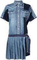 Sacai pleated denim shirt dress - women - Cotton - 2