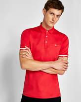 Stripe Cuff Cotton Polo Shirt