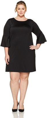 Kasper Women's Plus Size Long Bell Sleeve Dress