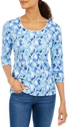 Karen Scott Printed Quarter-Sleeve Cotton-Blend Top