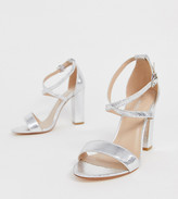 Glamorous Wide Fit cross strap heeled sandals in silver