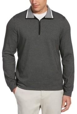 Perry Ellis The Icon Men's Quarter-Zip Long Sleeve Mock Neck Logo Shirt