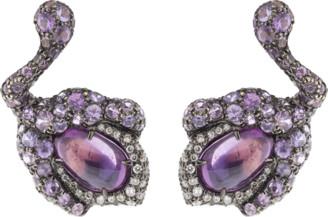 Arunashi Purple Sapphire Flower Bud Earrings