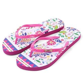 Aerusi Womens Spring Flower Non-Slip Flip Flops Slippers