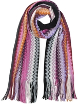 Missoni Black and Fuschia Wool Blend Zig Zag Long Scarf