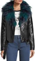 MinkPink Mink Pink Midnight Faux-Fur Leatherette Biker Jacket