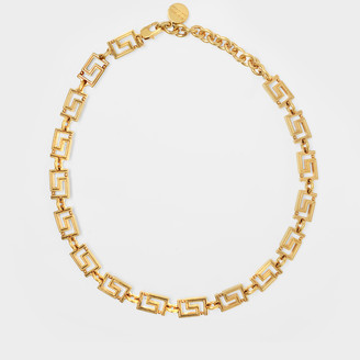 Versace Greek Key Necklace In Golden Brass
