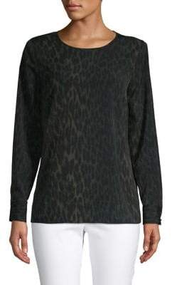 Vince Camuto Leopard-Print Long-Sleeve Top