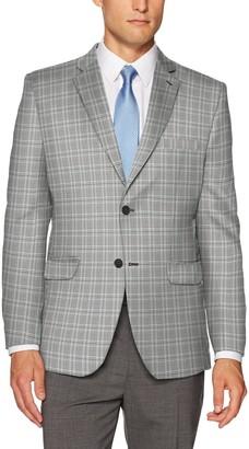 Greg Norman Men's Travel Plaid Sport Coat Grey/Black 42 Long
