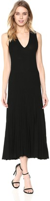 Anne Klein Women's Long Ribbed V-Neck Sweater Dress