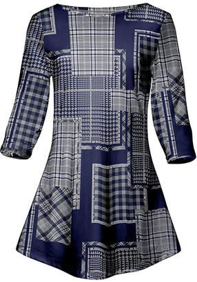 Lily Women's Tunics BLU - Blue & Gray Plaid Patchwork Three-Quarter Sleeve A-Line Tunic - Women & Plus