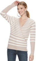JLO by Jennifer Lopez Women's Ribbed Surplice Sweater