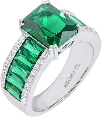 Diamonique 10.65 cttw Emerald Cut Ring, Sterling Silver