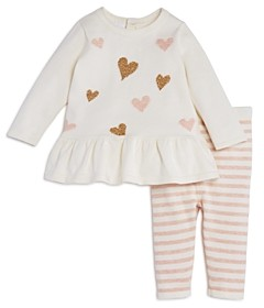 Bloomie's Girls' Heart Sweater Tunic & Striped Knit Leggings Set, Baby - 100% Exclusive