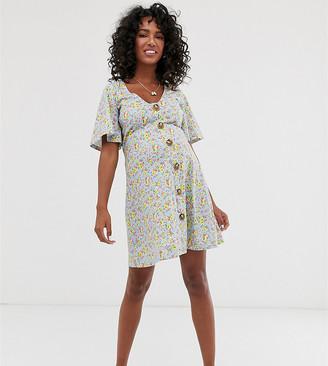 ASOS DESIGN Maternity mini tea dress in ditsy print with tie back
