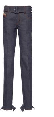 Prada Mid-rise Ruffled Straight-Leg Jeans