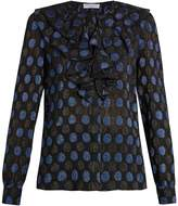 Sonia Rykiel Polka-dot fil coupé silk-blend blouse
