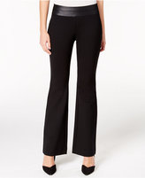 Alfani Petite Faux-Leather-Trim Pull-On Trousers, Only at Macy's