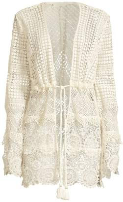 Ramy Brook Julius Long-Sleeve Crochet Cover Up