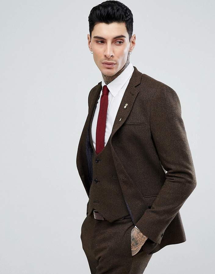 Asos Design Slim Suit Jacket in Tan Wool Mix Twill