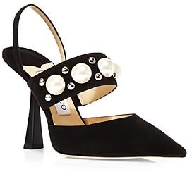 Jimmy Choo Women's Breslin 100 High Heel Pointed Toe Stud & Imitation Pearl Embellished Slingback Pumps