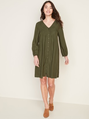 Old Navy Pintucked Button-Front Swing Dress for Women