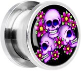 Body Candy Stainless Steel Floral Three Skulls Screw Fit Plug Pair 13mm