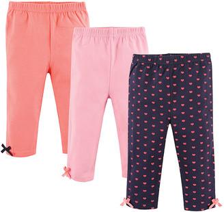 Hudson Baby Girls' Leggings Hearts - Coral, Pink & Navy Hearts Ankle-Accent Leggings Set - Infant, Toddler & Girls