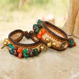 Beaded Wristband Bracelets (Pair), 'Bold Brown Fortunes'