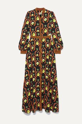Temperley London Rosella Printed Crepe Maxi Dress - Black