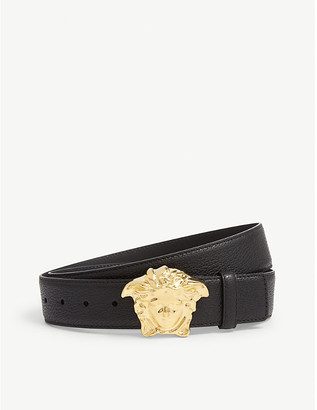 Versace Mens Black and Gold Palazzo Medusa Leather Belt, Size: 36