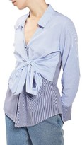Topshop Women's Tie Wrap Stripe Shirt