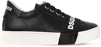 DSQUARED2 Logo Printed Leather Sneakers