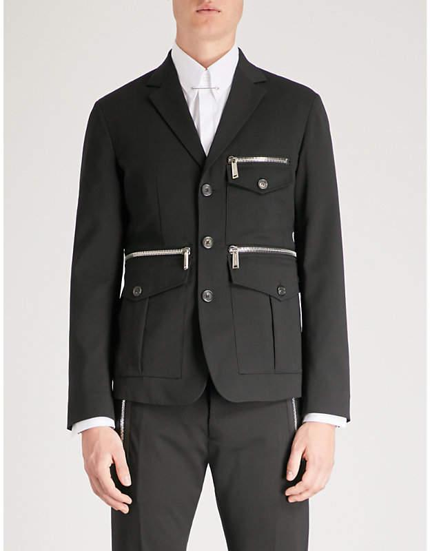 DSQUARED2 Zip-detail regular-fit stretch-wool jacket