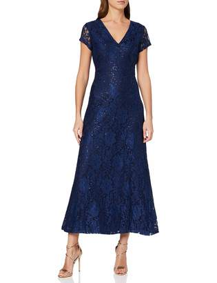 Yumi Women's Sequin Detailed V Neck Lace Maxi Dress Cocktail