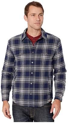 Lucky Brand Plaid Shirt Jacket (Grey/Blue Plaid) Men's Clothing