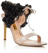 Rupert Sanderson Cassandra Open Toe Lace Up Flower Sandals