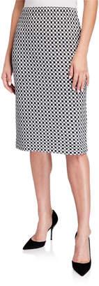 St. John Checker Knit Wool-Blend Skirt