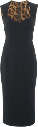 Dolce & Gabbana Sweetheart-Neckline Wool-Blend Midi Dress